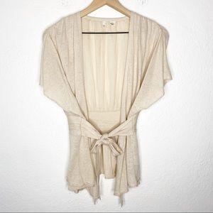 MOTH Tan Flutter Sleeve Toe Waist Pleated Kimono